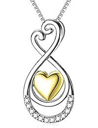 Bbyaki Frauen 925 Sterling Silber Halskette Mit Gelbgold Plattiert Herz  Diamant Ausschnitt Anhänger Mode… a8e13e41c4