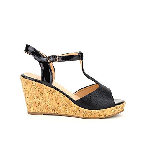 Cendriyon, Compensée Espadrille NEILES Chaussures Femme Noir
