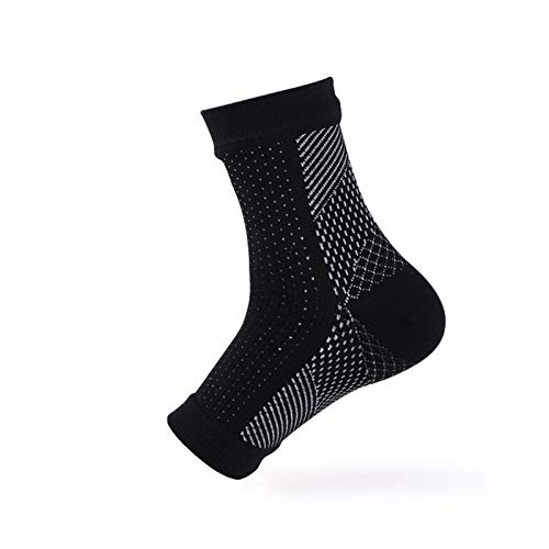 Anti Fatigue Compression Foot Sleeve Arch Support for Sport Running Hiking Foot Angel Black White S/M -