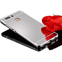 Vandot Premium Funda Para Huawei P9 5.2 pulgadas Bumper Case del Metal Aluminio PC Ultrafina Espejo Efecto [Fusion Mirror] Trasero Case Cover Protección gota Tecnología de absorción de impactos Carcasa caso - Plata