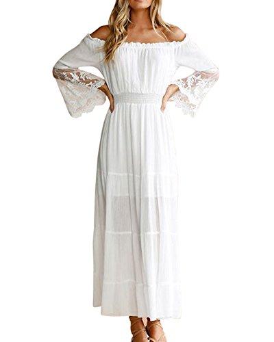 Vestidos De Encaje Para Fiesta Mujer Casuales Vestidos Fuera De Hombro Vestidos Fiesta Largos blanco XL