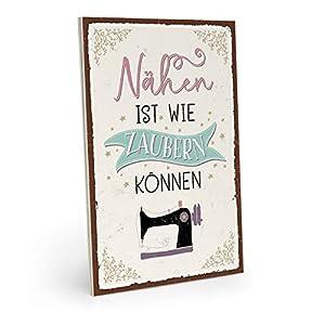 ARTFAVES Holzschild mit Spruch - NÄHEN IST WIE Zaubern KÖNNEN - Vintage Shabby Deko-Wandbild/Türschild