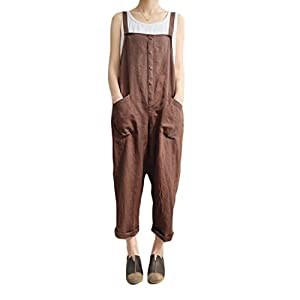 VONDA Damen Latzhose Retro Lange Overall Größe Jumpsuit Baggy Sommerhose