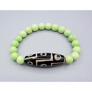 Armband - Tibet DZI Bead 9 Augen - Howlith - Feng Shui Schutz - Amulett Armband