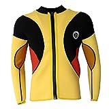 Sharplace Herren Langarm Neoprenanzug Jacke Neopren Schwimmanzug Sonnenschutz Hautschutz Jacke 3mm für Wassersport - Gelb, M