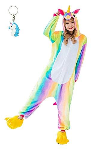 Landove Deguisement Combinaison Pyjama Licorne Adulte Unisexe Unicorne Animaux Anime Cosplay Costume Flanelle Onesie Outfit Nuit Vêtements Halloween Noel Party Soirée de Déguisem