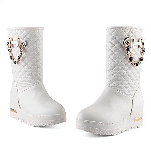 AgooLar Damen Mittler Absatz Rein Rund Zehe Weiches Material Ziehen Auf Stiefel Weiß