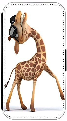 Flip Cover für Apple iPhone 5 5s Design 636 Giraffe mit Rollschuhen lustig funny Cartoon Animiert Rot Braun Hülle aus Kunst-Leder Handytasche Etui Schutzhülle Case Wallet Buchflip (636) 637