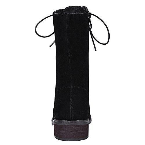 rismart Donna Mezzo Vitello Allacciare Zip Inverno Casuale Pelle Stivali da Chukka Nero