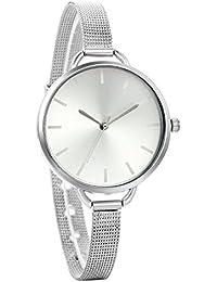 Avaner Luxury Women Quartz Ultra Thin Dress Wrist Watch Stainless Steel Mesh Milanese Strap (Silver)