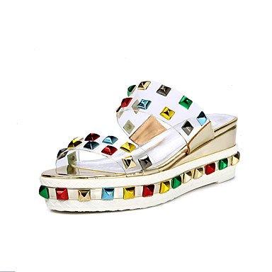 LvYuan Sandali-Formale Casual Serata e festa-Club Shoes-Zeppa-PVC-Rosso Argento Dorato Gold