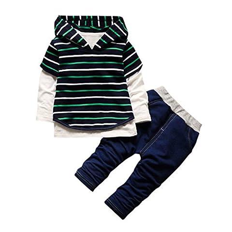 Babykleidung Langarmshirt Kinderstrumpfhosen Hirolan 3 Stück Kinder Kapuzenpullover Hemd Streifen Tops Hose Säugling Jungen Strampler Mädchen Outfits Baumwolle Kleider Set (80, Grün)