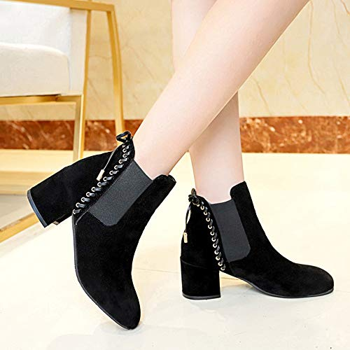 MYMYG Damen Boots Ankle Boots mit Halbhohe Blockabsatz Frauen High Heel Schuhe Martain Boot...