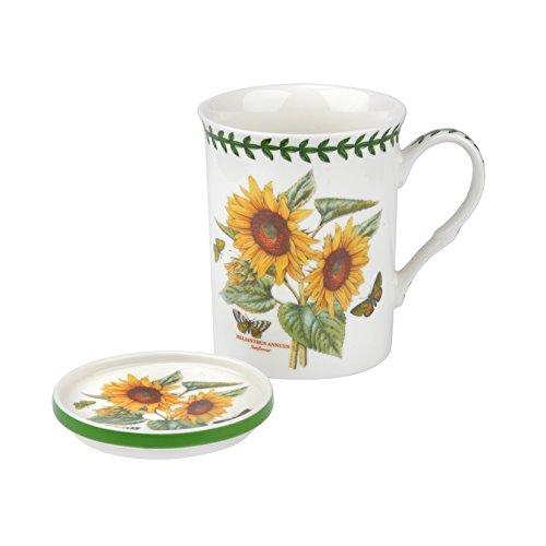 Botanic Garden Sonnenblume Motiv Tasse und Untersetzer Set, Porzellan, Mehrfarbig, 8,5x 12x 10,5cm -