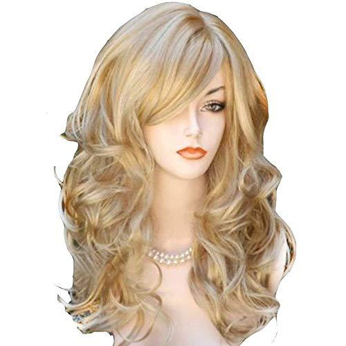 PerückeFrau Big Wave Light Gold Highlights Langes lockiges Haar Perücke -