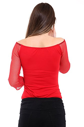 Janisramone Damen Formender Body schwarz * Einheitsgröße Rot