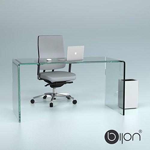 Design Schreibtisch aus 15mm Echtglas (B/T/H) 1400x700x730mm – klarglas