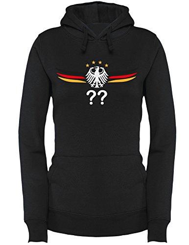 Deutschland Adler mit Flügeln Wunschnummer und Wunschname - Damen Hoodie Schwarz/W-Schwarz-Rot-Gelb