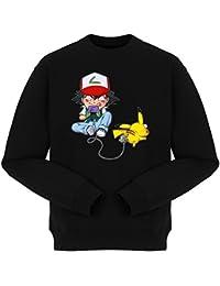 Pull Jeux Vidéo - Parodie Pikachu et Sasha de Pokémon - Batterie de Secours (Super Deformed) - Pull Noir - Haute Qualité (864)