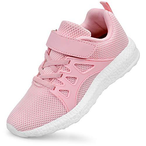 ZOCAVIA Jungen Mädchen Tennisschuhe Outdoor Sportschuhe Laufschuhe Sneaker Rosa 25 EU(Herstellergröße: 26)
