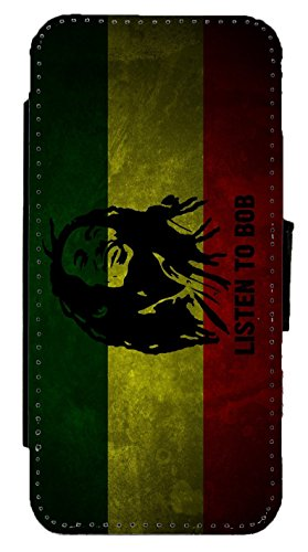 Bob Marley - Listen to Bob Flag Leather Flip Phone Case Cover - Wallet - For (iPhone 6 Plus / 6s Plus) (6 4 Flag X)