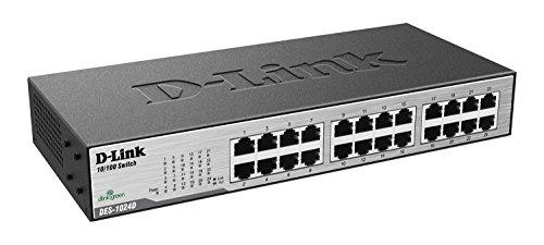 D-Link DES-1024D - Switch de red (24 x RJ45, 100 MB/s, indicador LED), gris (enchufe británico)
