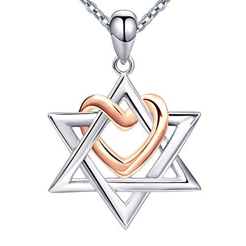 Halskette mit Anhänger Davidstern mit Herz 925Sterling-Silber für Damen oder Mädchen