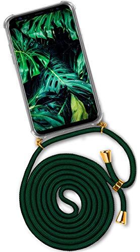 ONEFLOW® Handykette passend für Samsung Galaxy S9 Plus   Stylische Kordel Kette - Kristallklare Handyhülle mit Band zum Umhängen in Dunkel-Grün -