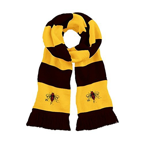 Retro Watford 1960s Wasp negro/oro tradicional fútbol bufanda bordado Logo