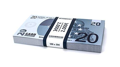 100 x €20 EURO Spielgeld Scheine Cashbricks® im Bündel - Blaue Euro-schein