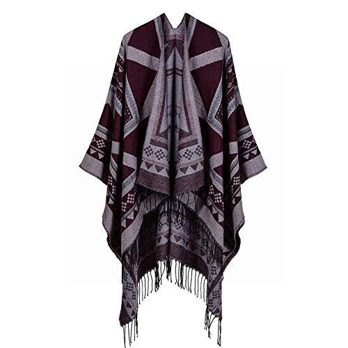 BAIJJ Herbst und Winter Damen Schal geometrische Quaste Schlitze Lange Damen Schal warme Klimaanlage Zimmer Mantel (Farbe: lila, Größe: 130 * 150 cm)