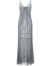 Metme Femmes Roaring des Années 1920 Great Gatsby Fête Partie sans Manches Paillettes Perlée Longue Robe De Clapet pour Le Bal Tenue