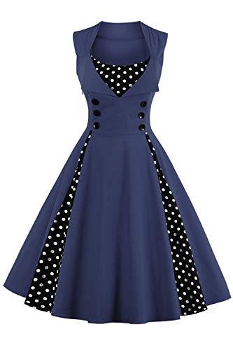 Axoe Damen 50er Jahre Cocktailkleid Rockabilly Elegantes Faltenrock Festliches Partykleider Vintage Kleid Audrey Hepburn Abendkleider mit Polka Dots Knielang, Navy, 3XL (48 EU)