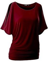 Vertvie Women's T Shirt Short Sleeve Off Shoulder Tee Boat Neck Shirring Dolman Drape Top Blouse
