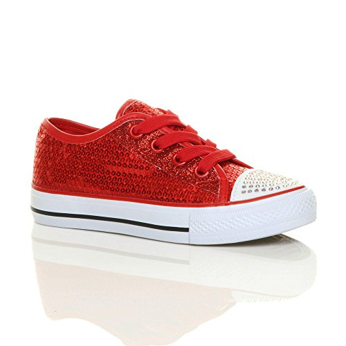 Girls kids childrens flat glitter lace up plimsoles trainers sneakers size 12