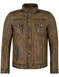 Smart Range Wolverine 1501 Dirty Brown Casual Biker Style Vintage Chaqueta de Cuero de Piel de