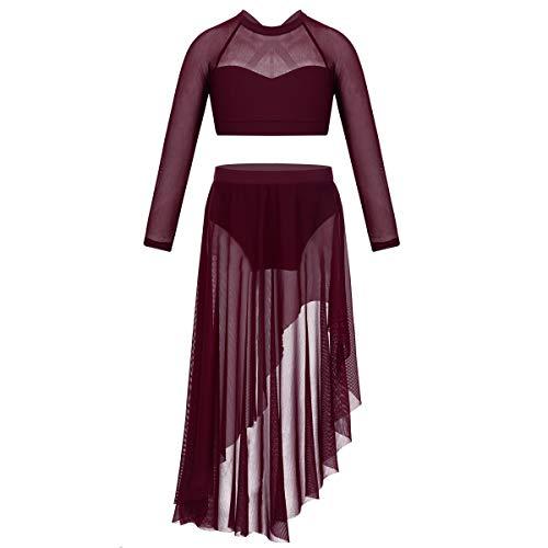 Kostüm Modern Tanz Jazz - Freebily 2 Pcs Kinder Mädchen Ballettkleid Ballett Outfit Crop Top mit Tüllrock Latin Tanz Kleidung Set Lyrical Tanz Kostüm Burgundy 134-140/9-10Jahre