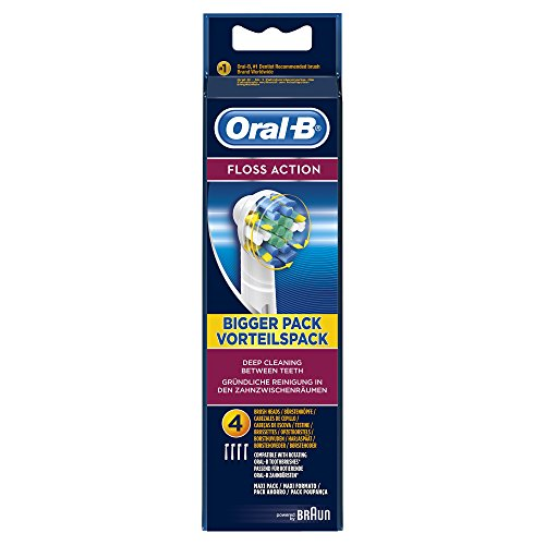 Oral-B FlossAction Electric Toothbrush Replacement Heads Powered by Braun – Pack of 4