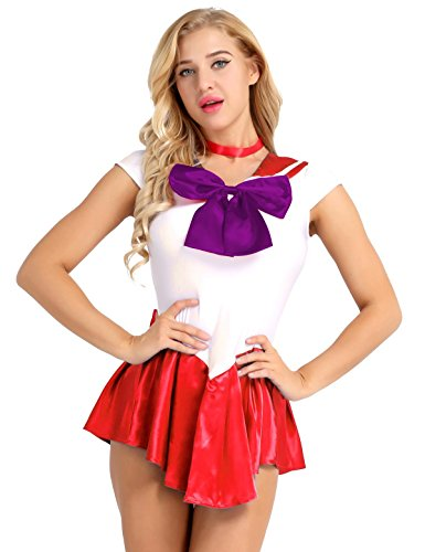 Tiaobug Sailor Moon Manga Crystal Cosplay Kostüm Sailor Venus Kostüm Schulmädchen-Matrose Uniform Anime Matrosen Kostüm Verkleidung Matrosenkleid Rot M(Brust 78cm) (Sailor Venus Halloween-kostüm)
