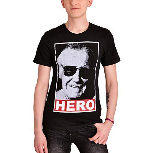Stan Lee Camiseta Hombre Hero Marvel Algodón Negro - S