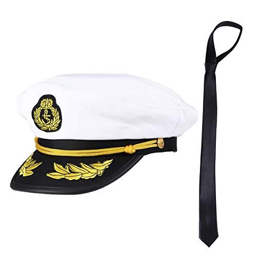 Amosfun Kapitän Mütze und Krawatte Kapitän Sailor Uniform Kostüm Lustige Partyhüte Phantasie Kostüm Cosplay Party Dress Up Zubehör (1 Kappe + 1 ()