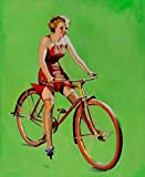 JH Lacrocon Impresiones Lienzo Chicas Pin-Up Poster 40X50cm Foto Cuadro Decoracion Free Wheeling 1937 Gil Elvgren Imagen Pared Vintage