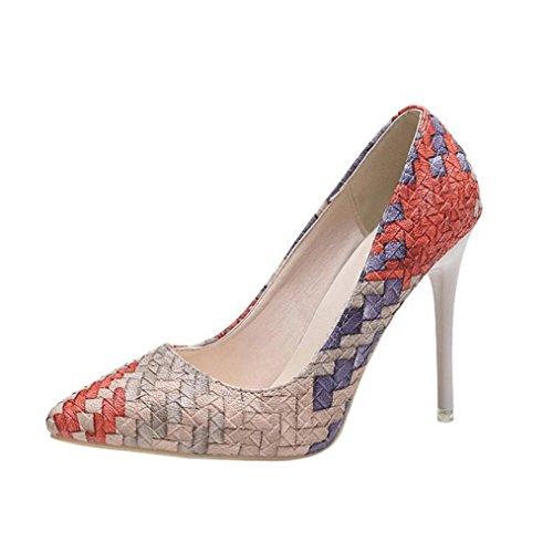 Liquidación! Tacones de mujer Covermason Moda tacones finos Zapatos colores mezclados Tacones bajos Zapatos(38 EU, rojo)
