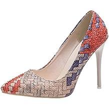 Liquidación! Tacones de mujer Covermason Moda tacones finos Zapatos colores mezclados Tacones bajos Zapatos(