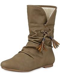 d00d386262dc napoli-fashion Damen Stiefeletten Keilstiefeletten Gefütterte Stiefel  Schlupfstiefel Wedges Wildleder-Optik Boots Keilabsatz Schuhe