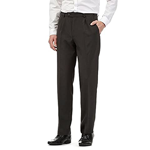 The Collection Mens Big And Tall Grey Pleated Front Regular Fit Trousers 36Xl