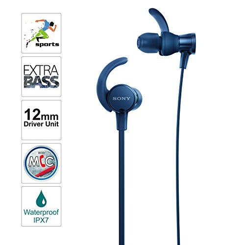 Sony Extra Bass MDR-XB510AS In-Ear Sports Headphones with Mic (Blue)