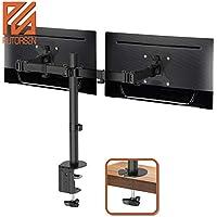 """PUTORSEN® Support de Bureau PC Moniteur pour 2 Écrans LCD LED de 13""""-32"""" - Clamp Équipé, Charge Max 8 kg par Moniteur"""