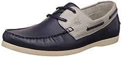 United Colors of Benetton Mens Blue (901) Leather Boat Shoes - 7 UK/India (41 EU)