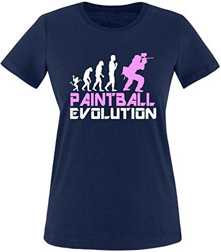 EZYshirt® Paintball Evolution Damen Rundhals T-Shirt Navy/Weiss/Rosa